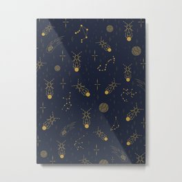 Golden Fireflies Constellations Metal Print