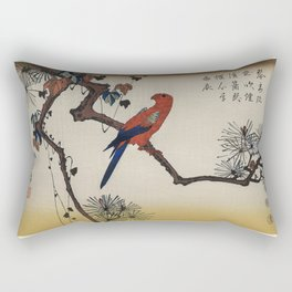 Ukiyo-e  Macaw on Pine Branch by Utagawa Hiroshige also known as Ando Hiroshige (1797-1858) a portra Rectangular Pillow