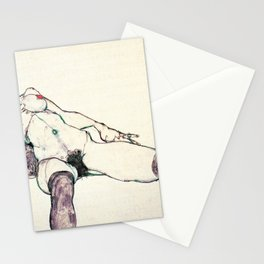 Egon Schiele - reclining female (new color editing) Stationery Cards