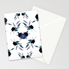 Black and blue peony refexion pattern illustration Stationery Cards