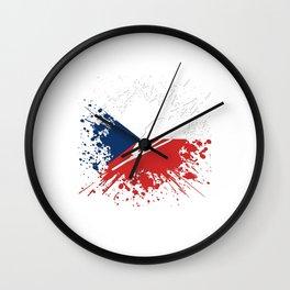 Ski Jumper Czech Republic Winter Sports Flag Splash Wall Clock