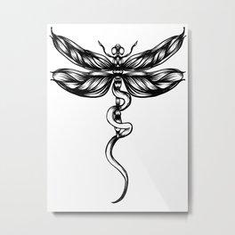Dragonfly  bw Metal Print