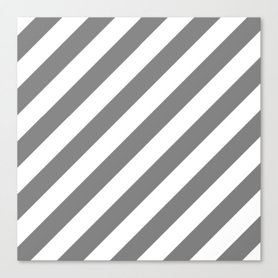 Diagonal Stripes (Gray/White) Canvas Print