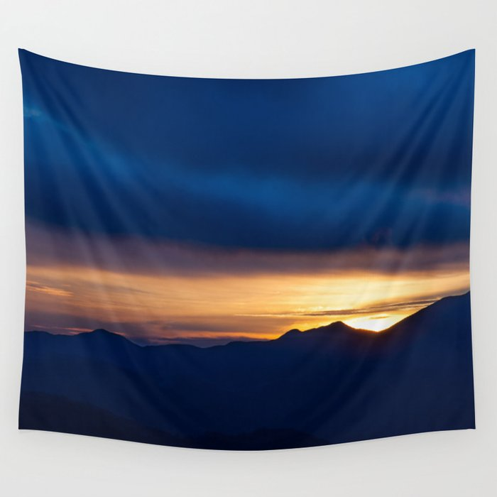 Blue Sunset Wall Tapestry