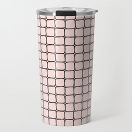 Back to School- Simple Grid Pattern - Black & Pink - Mix & Match with Simplicity of Life Travel Mug