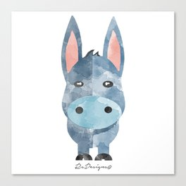 Water Colour Baby Donkey Canvas Print