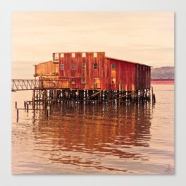 Old Red Net Shed, Building on Pier, Columbia River, Astoria Oregon Canvas Print
