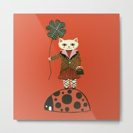 Lucky Cat, Red Metal Print
