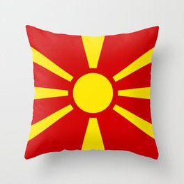 National flag of Macedonia - authentic version Throw Pillow