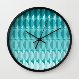 Leaves in the moonlight - a pattern in teal Wall Clock