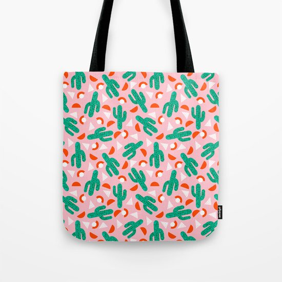Red Hot - cactus southwest desert palm springs retro neon throwback 1980s style minimal plants Tote Bag
