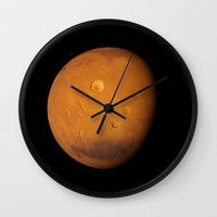 mars Wall Clocks featuring Mars by Space99