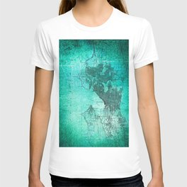 Turquoise Seattle Map Design T-shirt