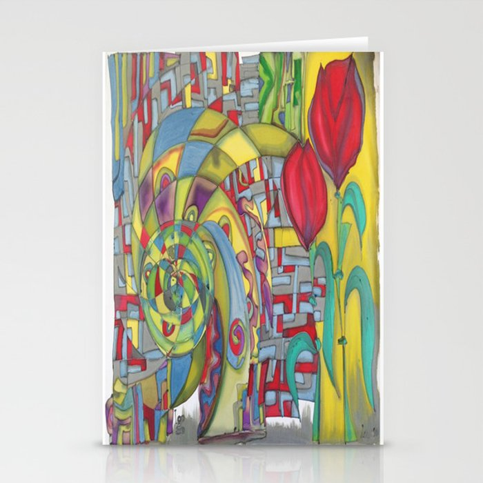 abstract red flower Stationery Cards
