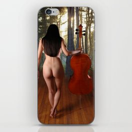 0182-JC Nude Cellist with Her Cello and Bow Naked Young Woman Musician Art Sexy Erotic Sweet Sensual iPhone Skin