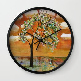 Patterned Tangerine Sky Tree Wall Clock