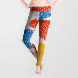 Abstract Orange, Blue & Yellow Memphis Pattern Leggings