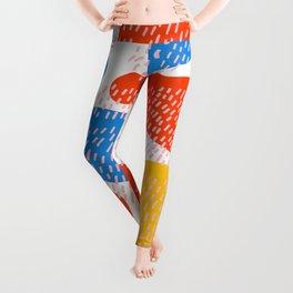 Abstract Orange, Blue & Yellow Memphis Pattern Leggings