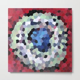Abstract red, blue and white mosaic pattern with circles Metal Print