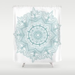 Teal Flower Mandala Shower Curtain
