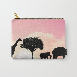 Nature background with elephants and giraffe Carry-All Pouch