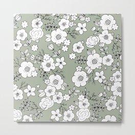 Romantic English Botanical flower Garden sage green Metal Print