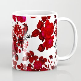 Botanical romantic red black elegant roses floral Coffee Mug