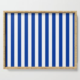 Princess Blue Beach Hut Vertical Stripe Fall Fashion Serving Tray