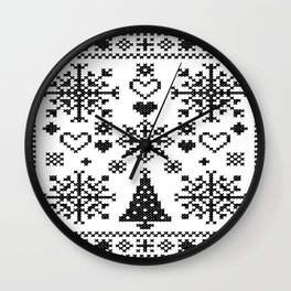 Christmas Cross Stitch Embroidery Sampler Black And White Wall Clock