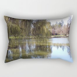 Old Weeping Willow Tree Standing Next To Pond Rectangular Pillow
