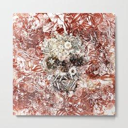 Floral Skull Red Metal Print