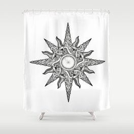 Surf in a Windrose – Compass (tattoo style) Shower Curtain