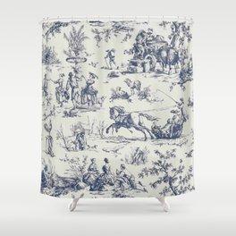 Blue Toile de Jouy Shower Curtain