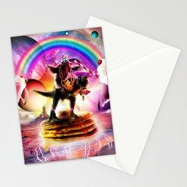 Sloth Riding Dinosaur With Pancakes And Milkshake Stationery Cards