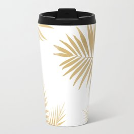 Golden Palm Leaves Travel Mug