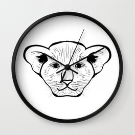 Black silhouette of a lion cub face. Lovely lion for pam, moms and toddlers, accessories. Wall Clock