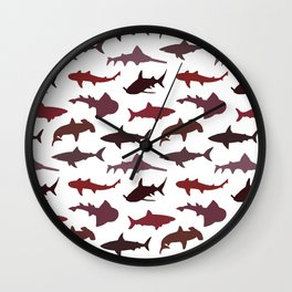 Red Sharks Wall Clock