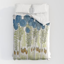 Tall skinny blue flowers with cattails Comforters