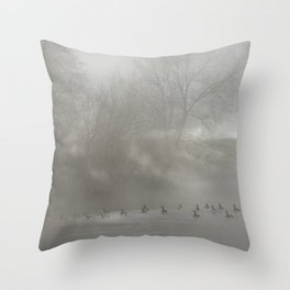 Canadian bernicles on a river Throw Pillow