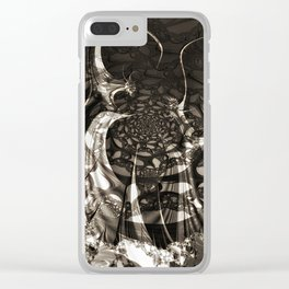 Life of black and white abstract creatures Clear iPhone Case