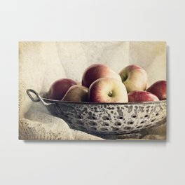 Blue Bowl of Apples Metal Print