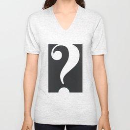 Question (White on Black) Unisex V-Neck