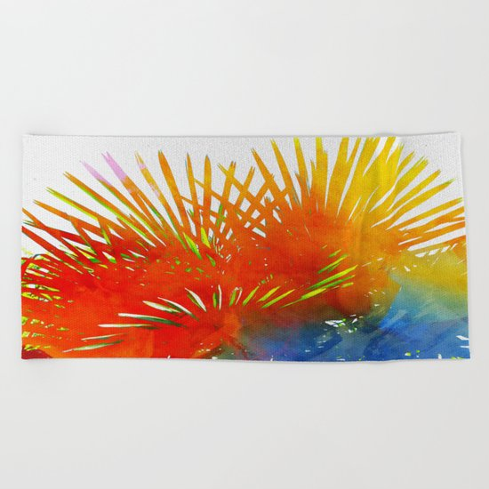 Enchanted Palm Leaves Beach Towel