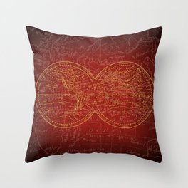 Antique Navigation World Map in Red and Gold Throw Pillow