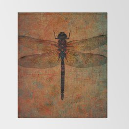 Dragonfly On Orange and Green Background Throw Blanket