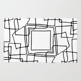 Decorative black and white abstract squares Rug