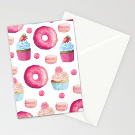 Donuts Cupcakes and Macarons Stationery Cards