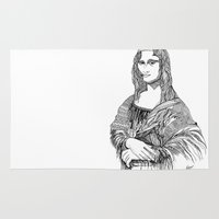 mona lisa Area & Throw Rugs featuring Mona Lisa by April Gann