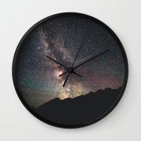starry night Wall Clocks featuring Starry night by Tasha Marie