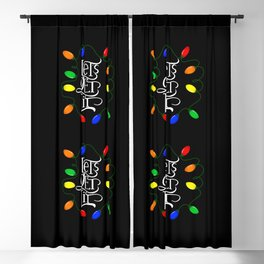 Let's Get Lit, Christmas Lights, Funny Holiday Drinking Design 2 Blackout Curtain
